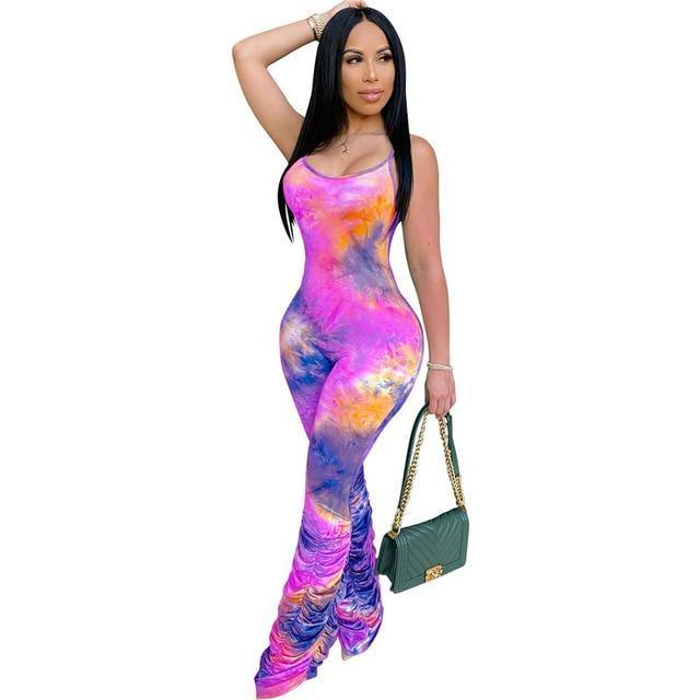 Tie Dyeing Print Jumpsuit 2020 Rompers Sexy Women Strap Flare Pants Stacked J Swansstyle