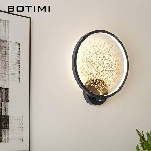 BOTIMI Nordic Creative LED Wall Lamp 2020 Black White Tree Decorative Wall Lamp 2020 Round Bedroom Bedside Home DECO Lighting Fixtures