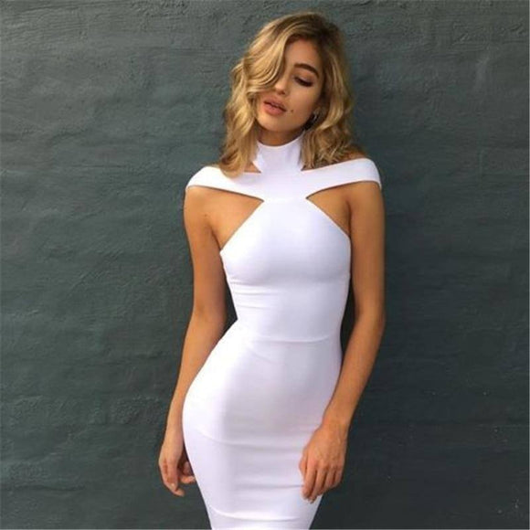 2017 New Summer Fashion Women'S Bandage Bodycon Sleeveless Sheath Sexy Solid Evening Party Short Mini Dress 2020 3Colour Popular