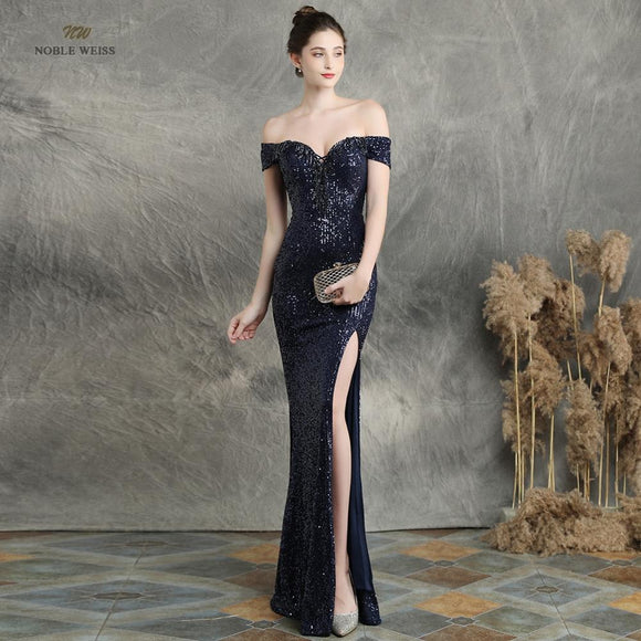 Split Prom Dresses 2020 Black Mermaid Elastic Party Dress Sexy Split vestidos de gala boat neck long prom gown