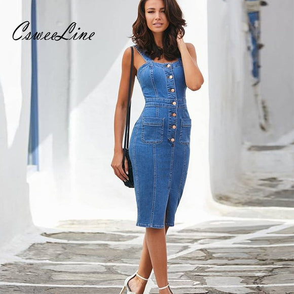 Jean Dress 2020, sexy casual denim dress midi summer outfits for women sundress 2020 sleeveless strap button pocket jeans dress bodycon ladies dresses
