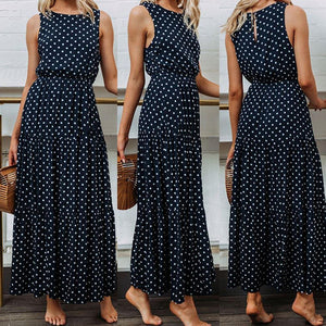 summer dress 2020 beach dress Women Ladies polka dot Printing Round Neck Sleeveless Evening Party Long Dress 2020   Swansstyle