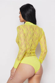 Shine in this Lace Body suit with front zipper - Vanitique