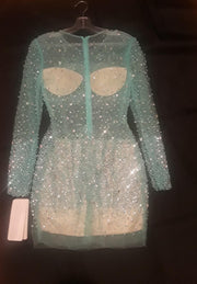 Green Jeweled and Beaded dress - Vanitique