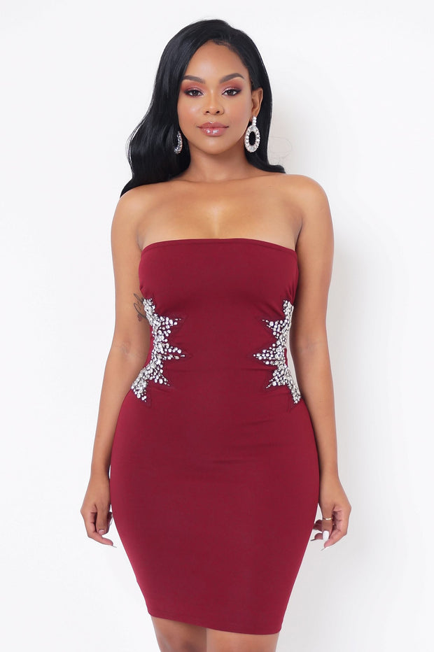 Nicola Mini Jeweled Burgundy Dress - Vanitique