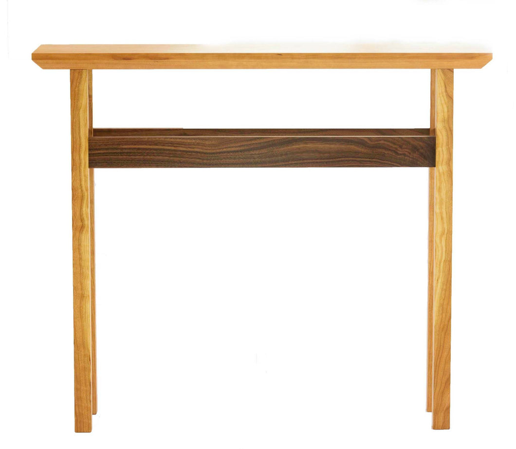 Beveled Top Console Table in Cherry and Walnut - anderson-furniture-and-design