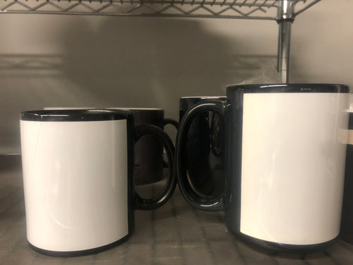 11 OZ. AND 15 OZ. BLACK SUBLIMATABLE MUGS