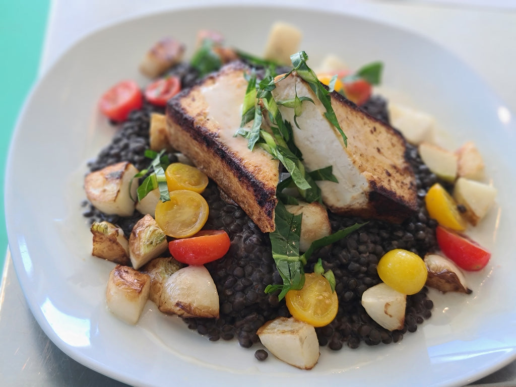 Pan Seared Tofu + French Green Lentils