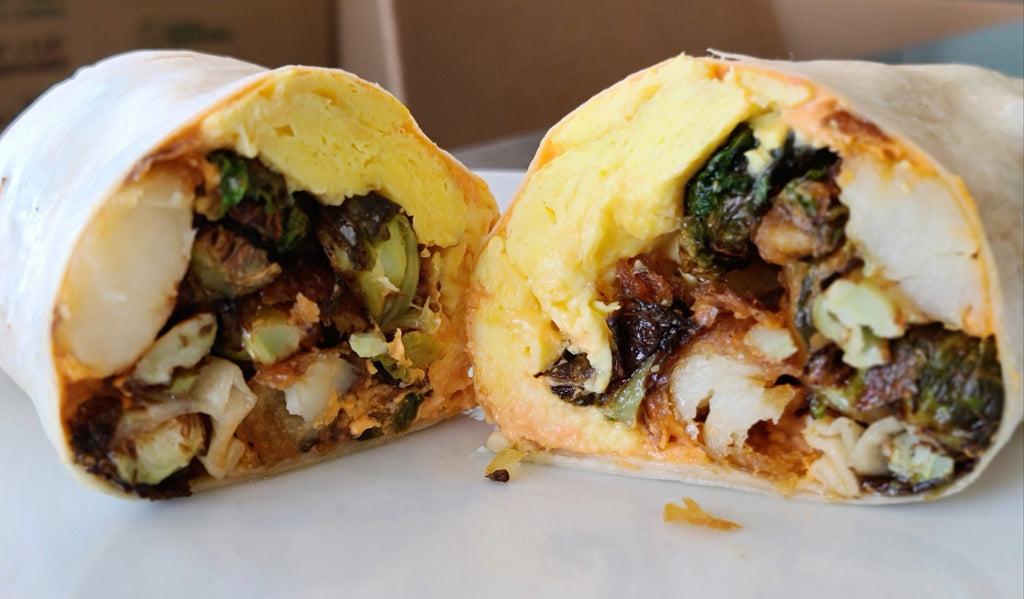 Fried Brussels Sprouts + Eggs Burrito