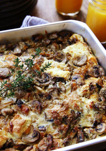 Savory Gruyere + Crimini Mushroom Bread Pudding + Fried Eggs
