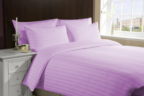 Congo Linens 100 Percent Egyptian Cotton Deep Pocket Flat Sheet  Striped (Full,Lilac)