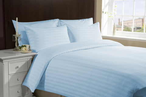 Congo Linens 500 TC 100 Percent Egyptian Cotton Duvet Cover Striped (Full,Sky Blue)