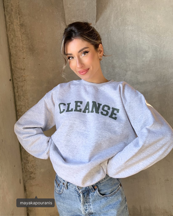 green and grey crewneck sweater cleanse