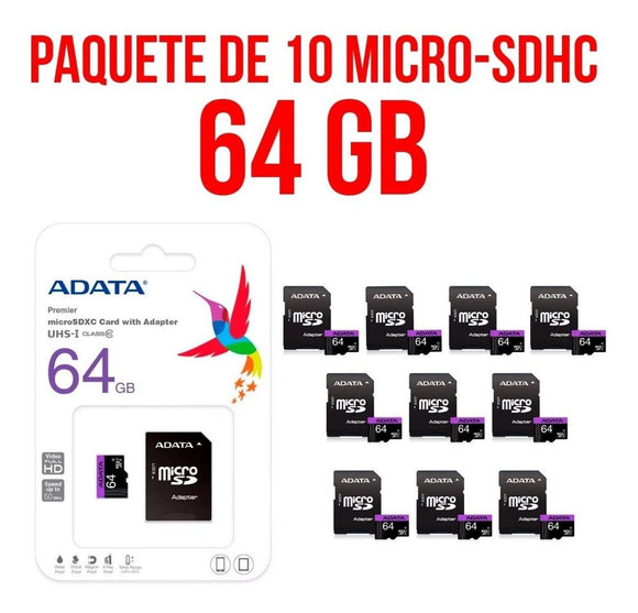 Paquete 10 Micro SD 64GB ADATA Clase 10 Video Full HD AUSDX64GUICL10-RA1
