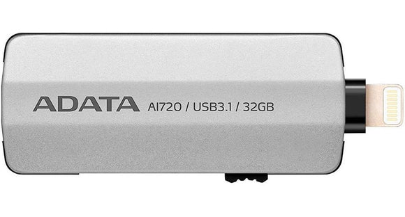 Memoria USB OTG 32GB 3.1 ADATA AI720 Iphone Ipad Video 4K Gris AAI720-32G-CGY