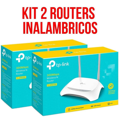 Kit 2 Router Inalambrico TP-LINK TL-WR840N V5 N300 2 Antenas 5 dBi