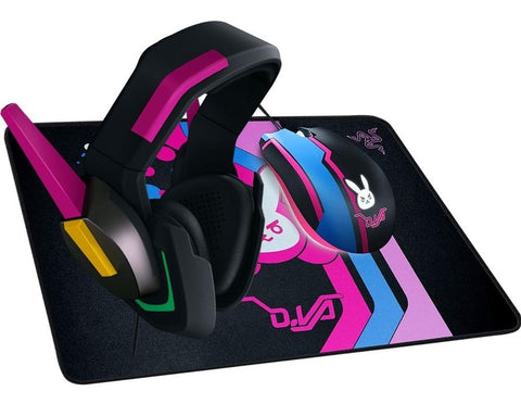 KIT Teclado Mouse Diadema Gamer RAZER D.Va Overwatch