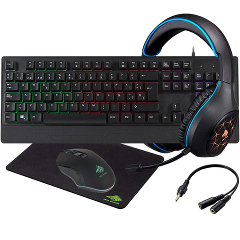 Kit Teclado Mouse Diadema MousePad EAGLE WARRIOR Rhino Azul KG5-1RHINOBEGW