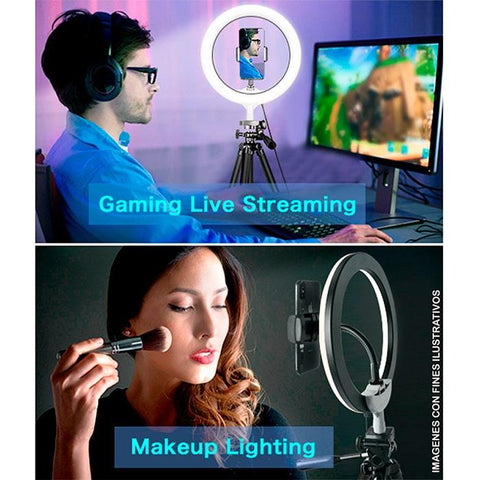 Aro de luz gamer GAME FACTOR LRG300 Streaming video selfie Nivel de Brillo Pedestal USB