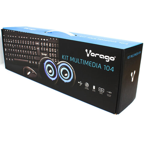 Kit Multimedia VORAGO 104 TECLADO MOUSE BOCINAS KMS-104