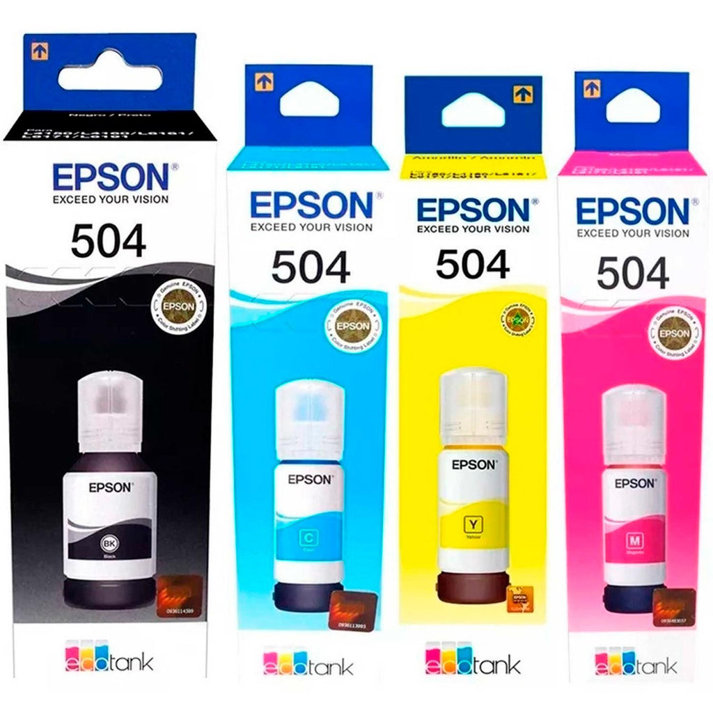 Kit 4 Botellas Tinta EPSON T504 Colores L4150 L4160 L6161 L6171