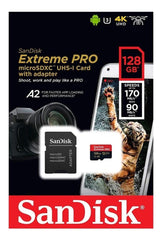 Memoria Micro SD 128GB Sandisk Extreme PRO A2 U3 V30 Clase 10 SDSQXCY-128G-GN6MA