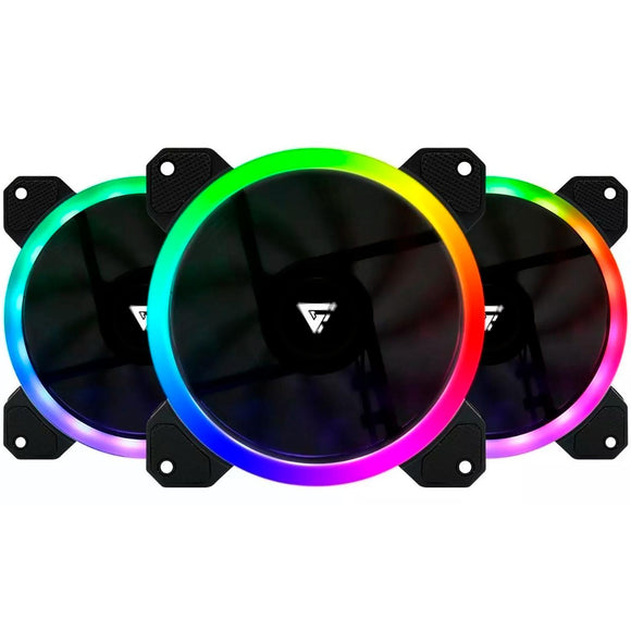 Kit 3 Ventiladores GAME FACTOR 120MM C/Control RGB 2 Tiras Led 30 CM FKG400