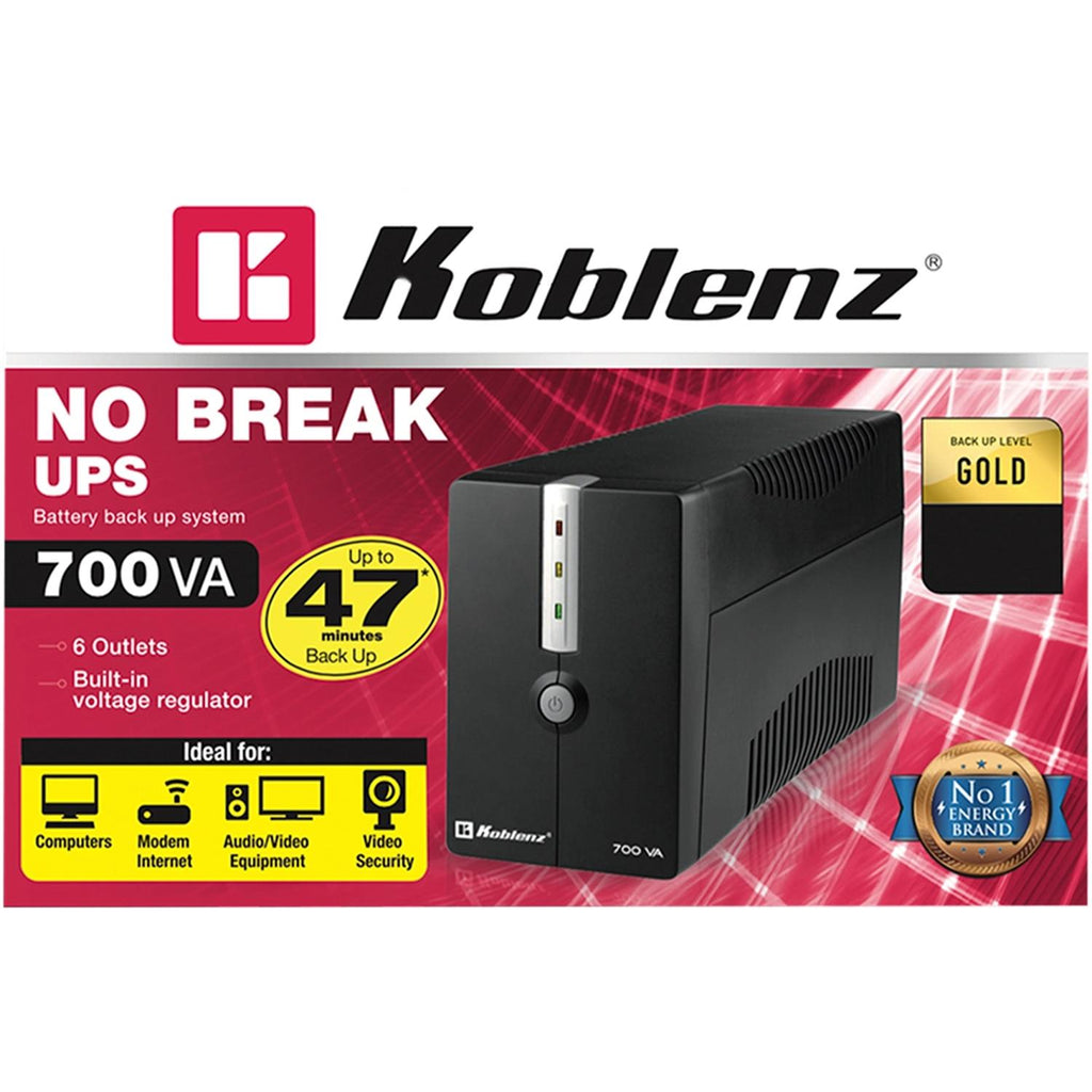 No Break KOBLENZ 7016 USB/R 700VA 360W 6 Contactos 25 Minutos 00-4206-9