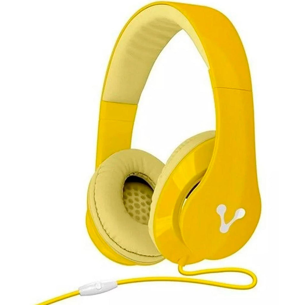 Diadema VORAGO HeadPhones 204 Super Bass Manos Libres Amarillo HP-204