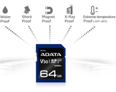 Memoria SD 64GB ADATA Clase 10 Video V30 Full HD 4K Camara Digital ASDX64GUI3V30S-R