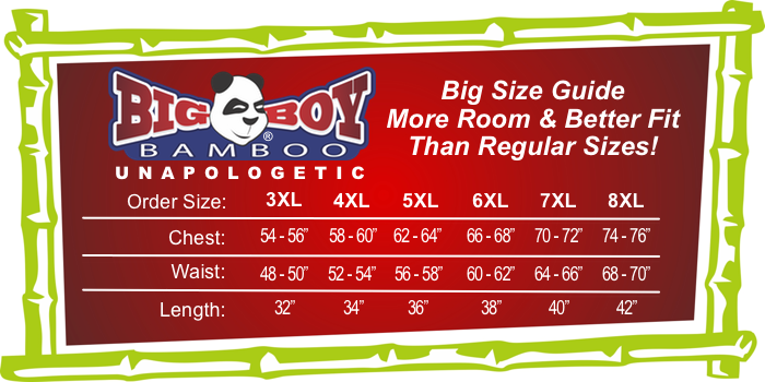 Big Boy Bamboo Size Chart 3XL - 8XL