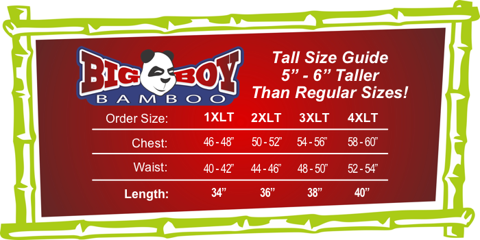 Big Boy Bamboo Tall Size Guide