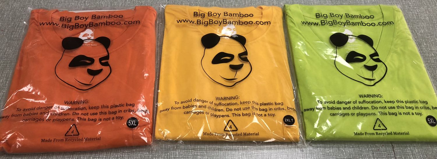 Big Boy Bamboo Big and Tall t-shirts in Orange, Lemon and Lime.