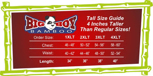 Big Boy Bamboo Tall Size Chart