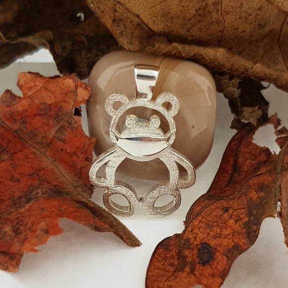 Sterling Silver Lockdown Teddy Bear Pendant