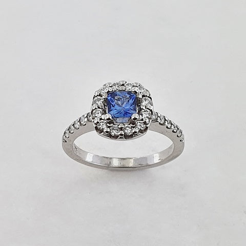 Blue Sapphire & Diamond 9ct Gold Ring