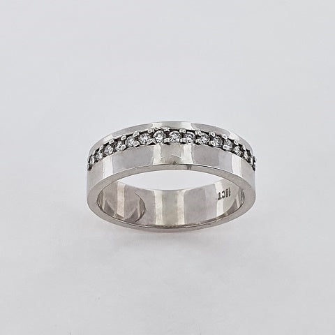 Diamond 18ct White Gold Offset Ring
