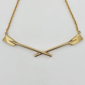Rowing 9ct Yellow Gold Crossed Oars Necklace
