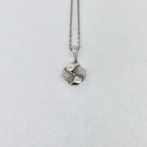 CZ Sterling Silver Knot Necklace