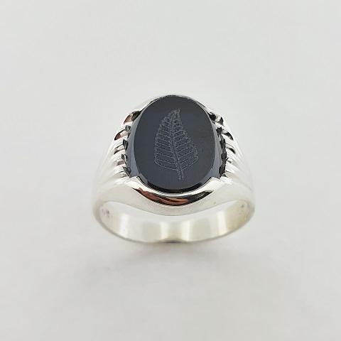 Onyx Sterling Silver Fern Ring