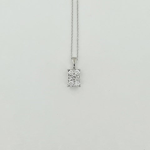 Diamond 9ct Gold Cluster 45cm Necklace