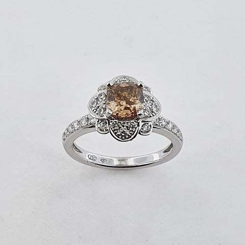 Chocolate & White Diamond 18ct Gold Ring