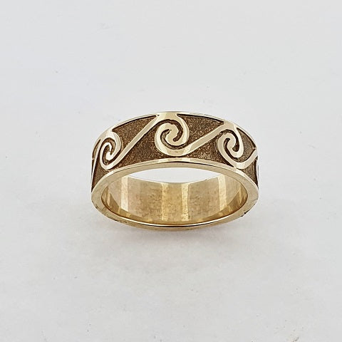 9ct Yellow Gold Koru Wave Ring