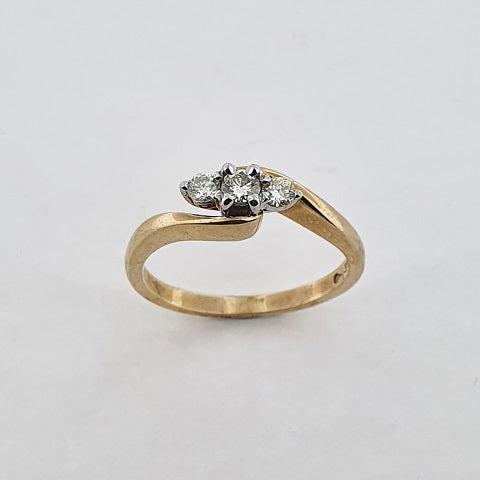Diamond 9ct Gold Three Stone Ring