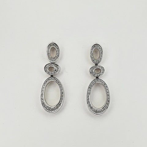 Diamond 18ct White Gold Oval Earrings