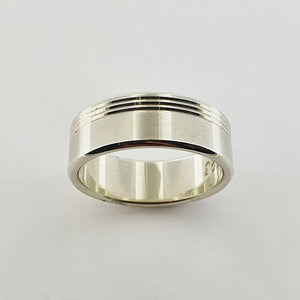 9ct White Gold Engraved Ring
