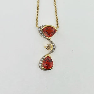 Spessartite Garnet & Diamond 18ct Gold Necklace