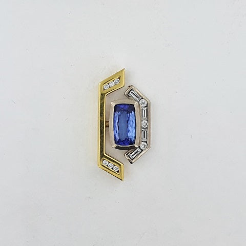 Tanzanite & Diamond 18ct Gold Pendant