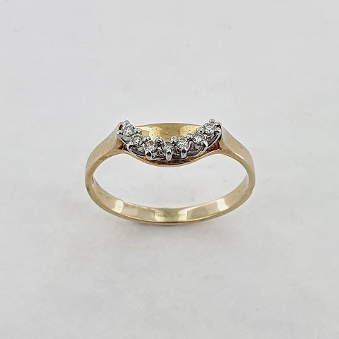 Diamond 9ct Gold Curved Ring