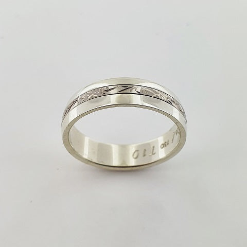 9ct & 18ct White Gold Engraved Ring